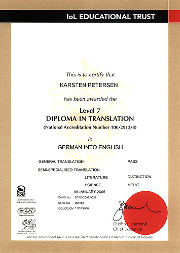 Chartered Institute of Linguists' Diploma in Translation German into English