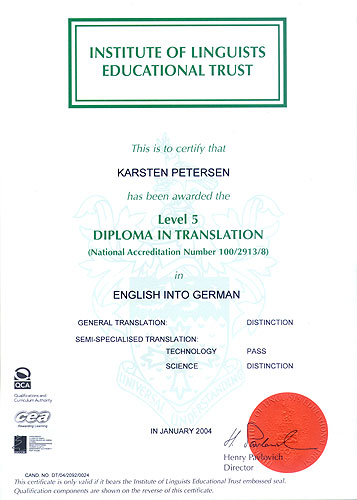 Chartered Institute of Linguists' Diploma in Translation English into German